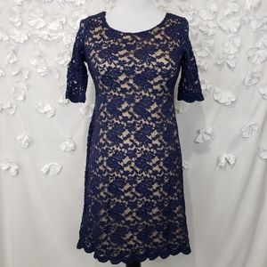 Connected Apparel Lace 3/4 Sleeve Dress Size 6